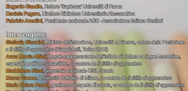 Share: Basta poco…per APPRENDERE! Presentazione a Roma del saggio Il diritto di apprendere. Nuove linee di investimento per un sistema […]
